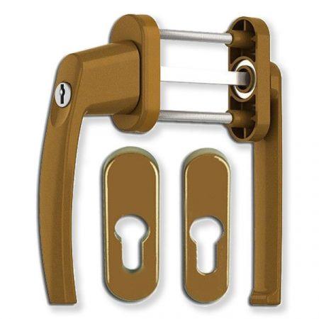 Victory lapított kulcsos balkon átmenő kilincs rozettával GOLD
