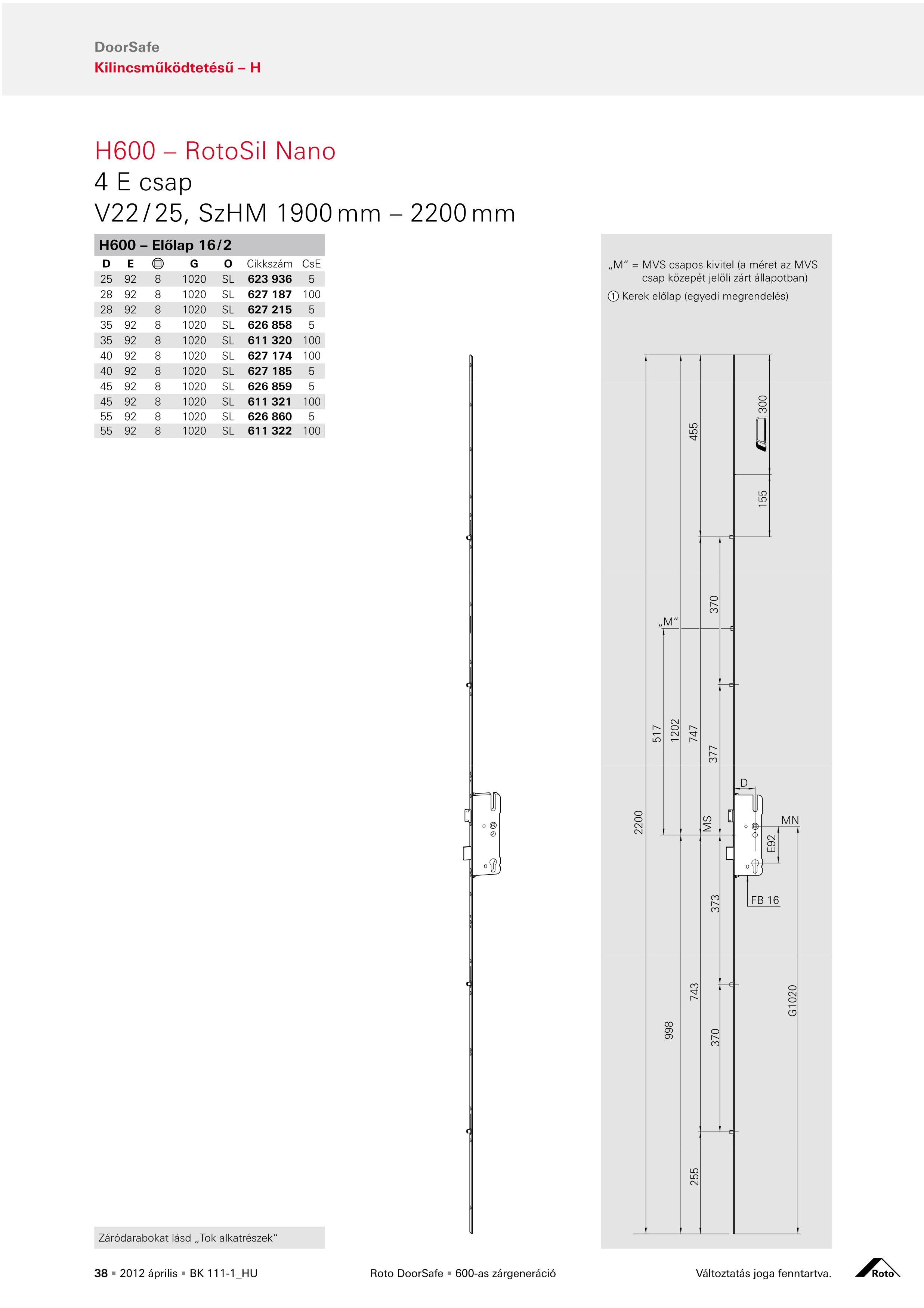 Roto H600 4 görgős többpontos zár méretezése