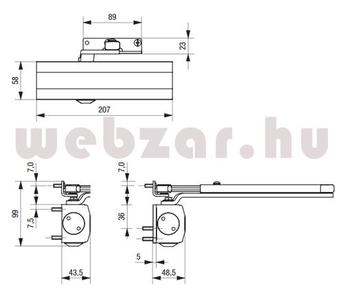 BKS ajtóbehúzó OTS 430 méretezése
