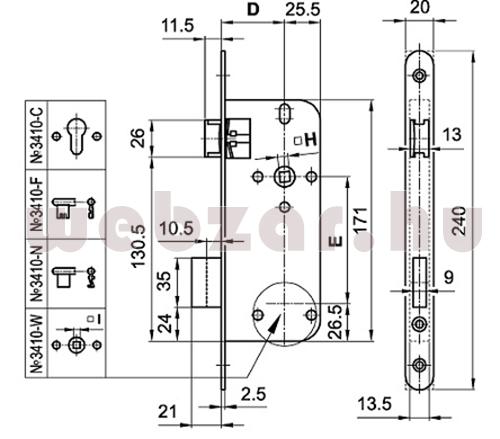 Elzett cilinderes bevésőzár méretezés
