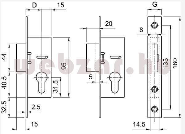 Europortál cilinderes reteszzár méretezése
