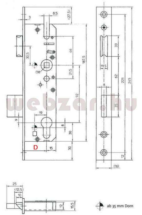 KFV portálzár 45/92/16 méretezése