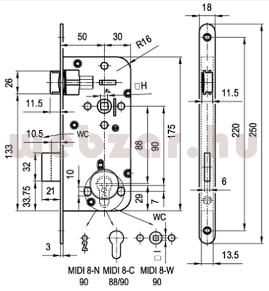 Midi8 bevésőzár méretezése