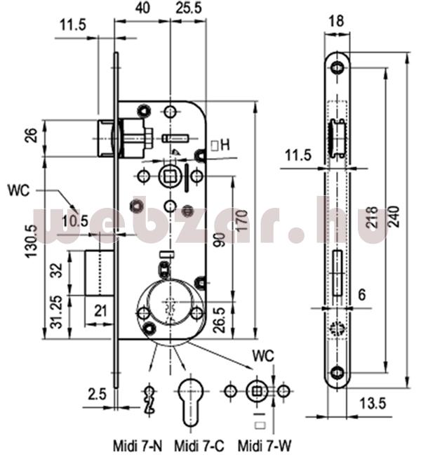 Elzett Midi7 kulcsos bevésőzár méretezése